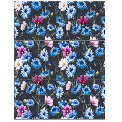 Designart Multi Color Corn Flowers Floral Art Triptych Canvas Print