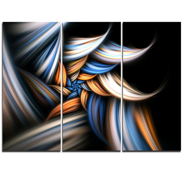 Designart Multi Color Fractal Floral Pattern In Black Floral Triptych Canvas Art Print