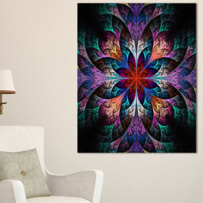 Designart Multi Color Fractal Flower Pattern Floral Canvas Art Print