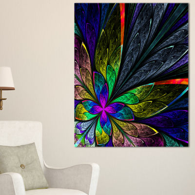 Designart Multi Color Fractal Flower Pattern LargeFloral Canvas Art Print