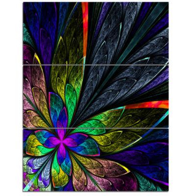 Designart Multi Color Fractal Flower Pattern LargeFloral Triptych Canvas Art Print
