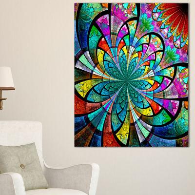 Designart Multi Color Large Fractal Flower PatternFloral Canvas Art Print