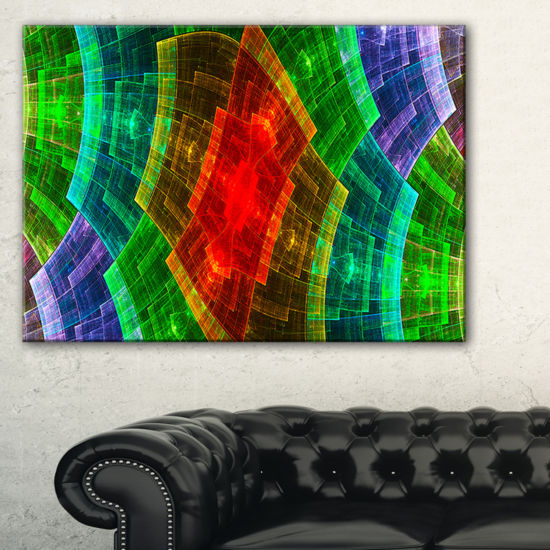 Designart Multi Color Psychedelic Fractal Metal Grid Abstract Art On Canvas