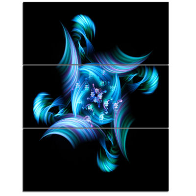 Designart Multi Colored Blue Stained Glass FloralTriptych Canvas Art Print
