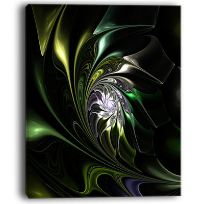 Designart Multi Colored Green Stained Glass FloralCanvas Art Print