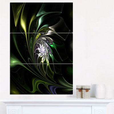 Designart Multi Colored Green Stained Glass FloralTriptych Canvas Art Print