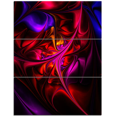 Design Art Multi Colored Magenta Stained Glass Floral Triptych Canvas Art Print