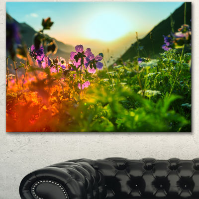 Designart Multicolor Mountains Meadow View FloralCanvas Art Print - 3 Panels