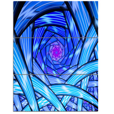 Designart Mysterious Psychedelic Fractal PatternAbstract Art On Triptych Canvas