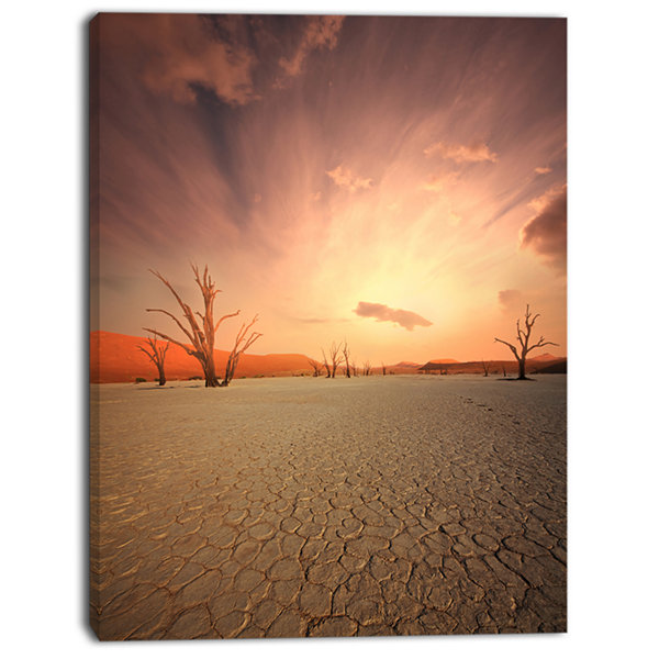 Designart Namib Desert Beautiful Cracked Land African Landscape Canvas Art Print