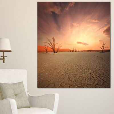 Designart Namib Desert Beautiful Cracked Land African Landscape Canvas Art Print - 3 Panels