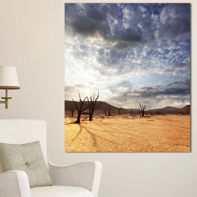 Designart Namib Desert Under Cloudy Sky OversizedLandscape Canvas Art