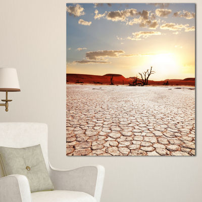 Designart Namib Desert With Cracked Land Extra Large Landscape Canvas Art - 3 Panels