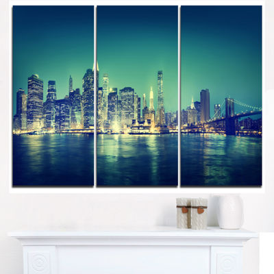Designart New York City Panorama Night Concept Cityscape Triptych Canvas Print