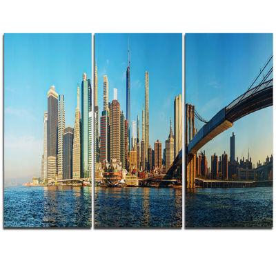 Designart New York City With Brooklyn Bridge Cityscape Triptych Canvas Print