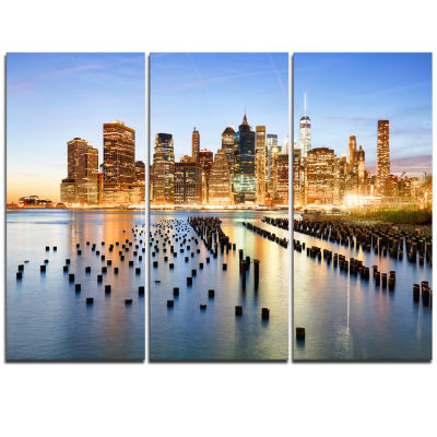 Designart New York Skyline With Skyscrapers Cityscape Triptych Canvas Print