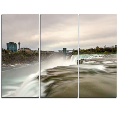 Designart Niagara Falls Goat Island View OversizedBeach Triptych Canvas Artwork