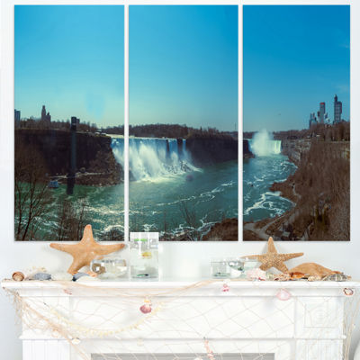 Designart Niagara Falls Viewed From Canada Large Seascape Art Triptych Canvas Print