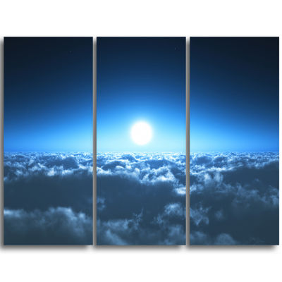 Designart Night Flight Above Clouds Extra Large Wall Art Landscape