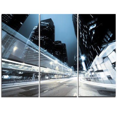 Designart Night Traffic In Hong Kong Cityscape Triptych Canvas Print