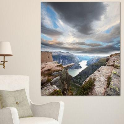 Designart Norway Rocky Terrains Under Clouds BeachPhoto Canvas Print