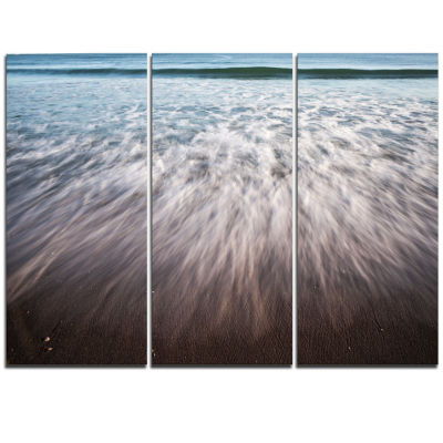Designart Ocean Beach Water Motion Seascape Triptych Canvas Art Print