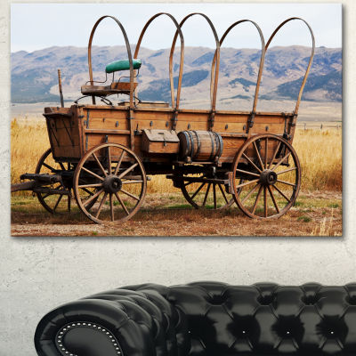 Designart Old American Cart In Grassland OversizedLandscape Canvas Art - 3 Panels