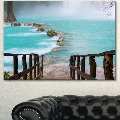 Designart Old Bridge Into Mexico Waterfall Seashore Canvas Art Print