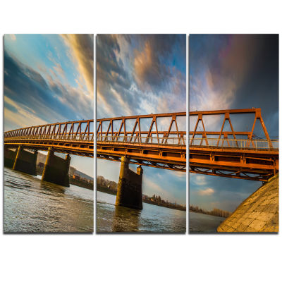 Designart Old Bridge Over River On Cloudy Day Wooden Sea Bridge Triptych Canvas Wall Art