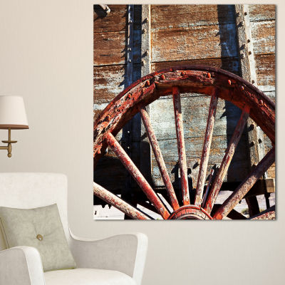 Designart Old Brown Cart Wheel Landscape ArtworkCanvas - 3 Panels