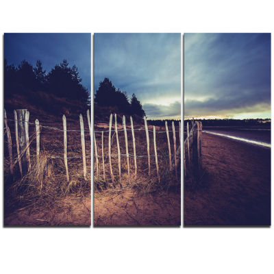 Designart Old Fence On Beach At Sunset Landscape Triptych Canvas Art Print