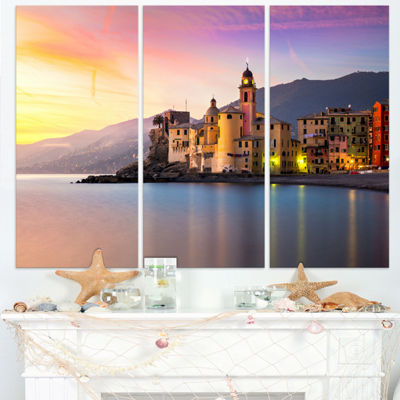 Designart Old Mediterranean Town At Sunrise LargeSeashore Triptych Canvas Print