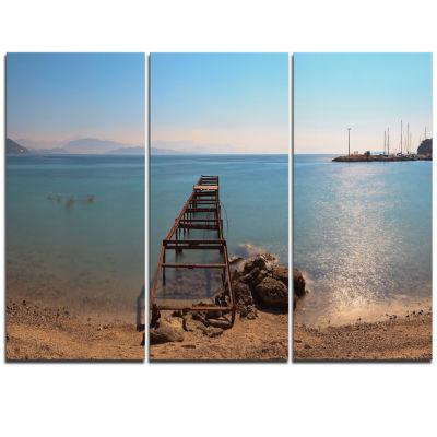 Designart Old Pier At Beach Panoramic View WoodenSea Bridge Triptych Canvas Wall Art