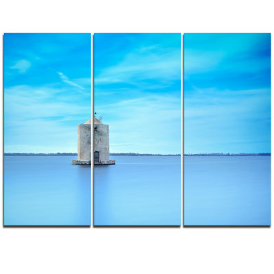 Designart Old Spanish Windmill In Blue Lagoon Extra Large Seashore Triptych Canvas Art