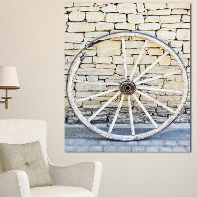 Design Art Old Vintage Broken Wood Wheel Extra Large Landscape Canvas Art - 3 Panels