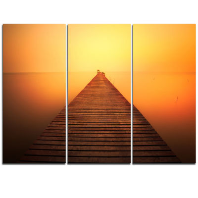 Designart Old Wooden Bridge Into Infinity Sea PierSeascape Triptych Canvas Art Print