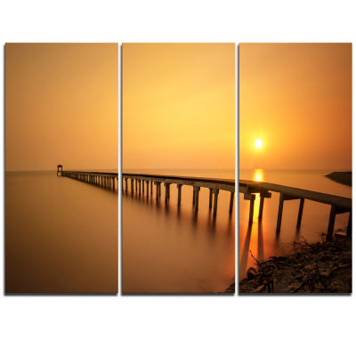 Designart Old Wooden Pier Long To Evening Sea PierSeascape Triptych Canvas Art Print