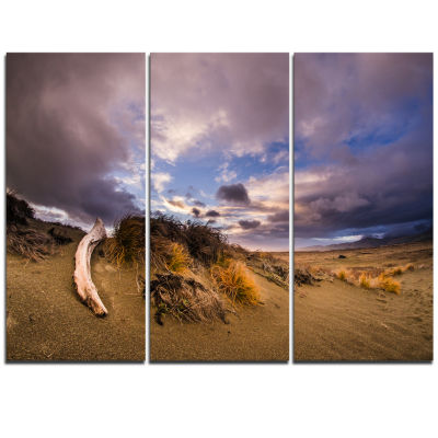 Designart Old Wooden Trunk In The Sunset Modern Seascape Triptych Canvas Artwork