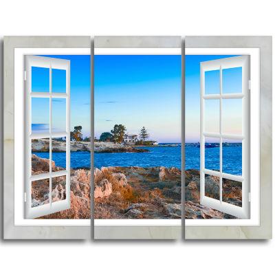 Designart Open Window To Blue Seashore OversizedLandscape Wall Art Print