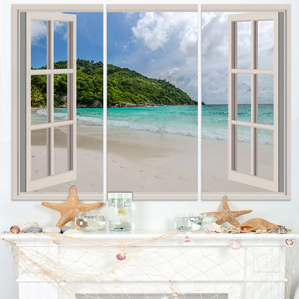 Design Art Open Window To Calm Seashore Extra LargeSeashore Triptych Canvas Art