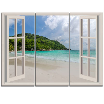 Designart Open Window To Calm Seashore Extra LargeSeashore Triptych Canvas Art