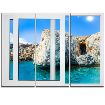 Designart Open Window To Rocky Sunny Ocean Extra Large Seashore Triptych Canvas Art