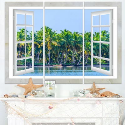 Designart Open Window To Seashore Palms Extra Large Seashore Triptych Canvas Art