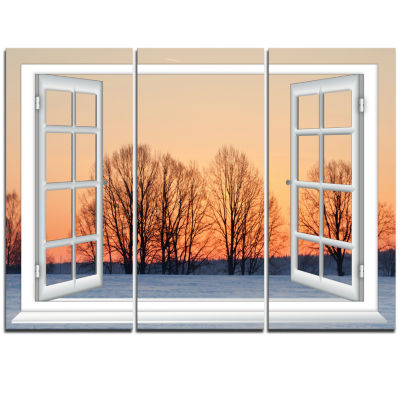 Designart Open Window To Snowy Sunset Landscape Triptych Canvas Art Print