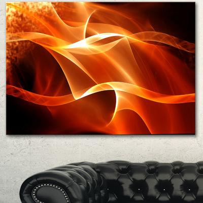 Designart Orange 3D Abstract Fractal Waves Contemporary Abstract Wall Art