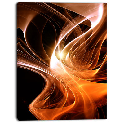 Designart Orange 3D Shaped Fractal Design Contemporary Abstract Wall Art
