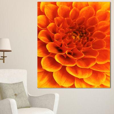 Designart Orange Abstract Flower And Petals FloralCanvas Art Print