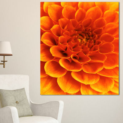 Designart Orange Abstract Flower And Petals FloralCanvas Art Print - 3 Panels