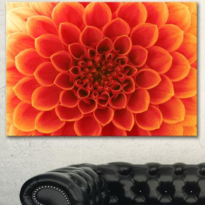 Designart Orange Abstract Flower Petals Floral Canvas Art Print