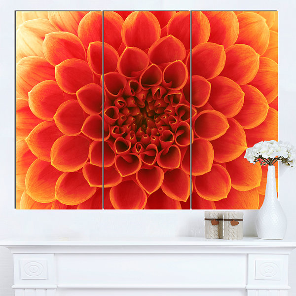 Designart Orange Abstract Flower Petals Floral Canvas Art Print - 3 Panels